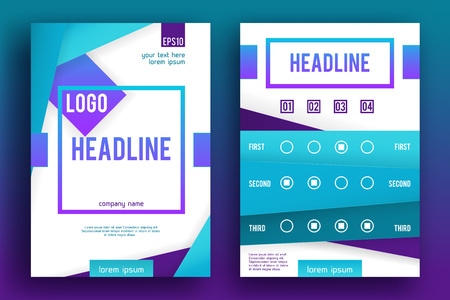 Brochure design Layout template, size A4, Front page and back page, material style.