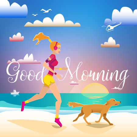 outdoor fitness: Girl running on the beache with dog. Lettering Good Moning. Sport and outdoor fitness card.
