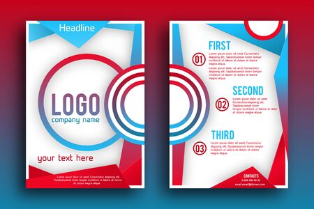 magazine design: Brochure design Layout  template, size A4, Front page and back page, material style poster. Magazine page.