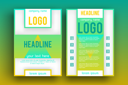 magazine page: Brochure design Layout  template,, Front page and back page, material style poster. Magazine page.