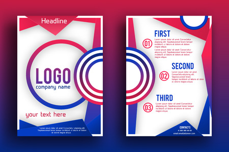 magazine page: Brochure design Layout  template, Front page and back page, material style poster. Magazine page. Illustration