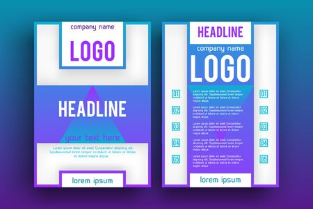 magazine design: Brochure design Layout  template, Front page and back page, material style poster. Magazine page. Illustration