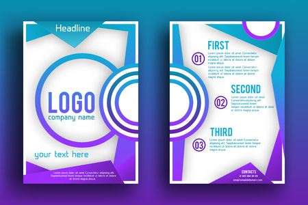 publisher: Brochure design Layout  template,, Front page and back page, material style poster. Magazine page.