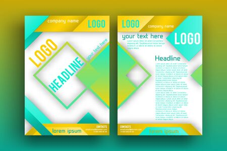 magazine page: Vector Brochure design Layout  template, Front page and back page, material style poster. Magazine page. Illustration
