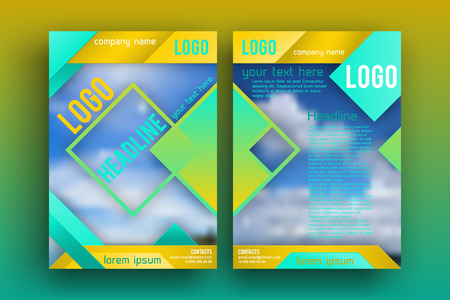 Vector Brochure design Layout  template,, Front page and back page, material style poster. Magazine page.