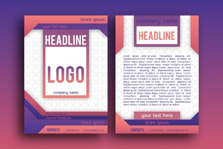 magazine page: Vector Brochure design Layout  template,, Front page and back page, material style poster. Magazine page.