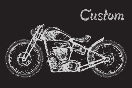 hand-painted retro motorcycle and lettering text custom,classic Stock Illustratie