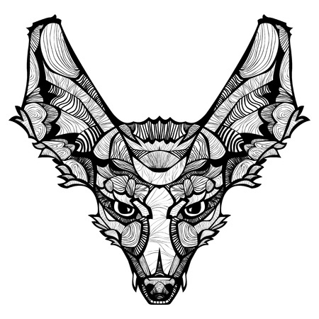 Fox. Ornamental tribal patterned illustration for tattoo, poster, print. Hand drawn sketch isolated on white background. Animal collection.