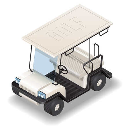 interceptor: Isometric white Golf Car. Isometric white transport. Illustration
