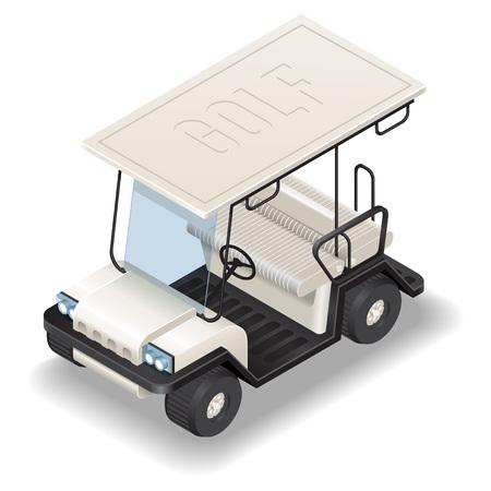 Isometric white Golf Car. Isometric white transport. Stock Illustratie