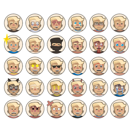 People avatars set of cute faces, different emotions.