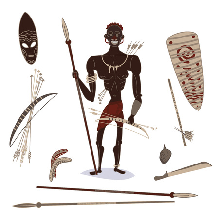 african aboriginal hunter people with hunting equipment