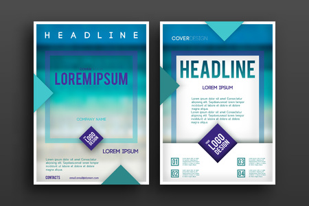 Brochure design Layout template,, Front page and back page, material style poster. Magazine page.
