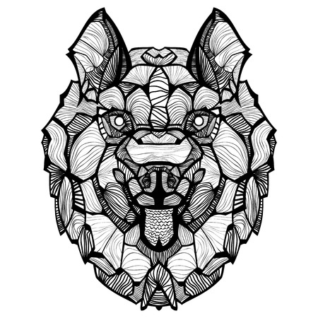 Husky. Ornamental tribal patterned illustration for tattoo, poster, print. Hand drawn sketch isolated on white background. Animal collection.
