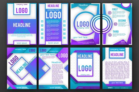 Brochure design template set . Magazine front and back page, material style poster and banner. Cover scheme. Business leaflet layout.