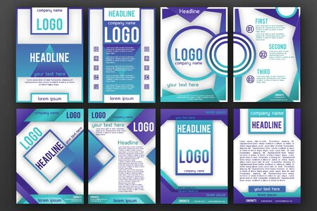 magazine page: Brochure design template set . Magazine front and back page, material style poster and banner. Cover scheme. Business leaflet layout.