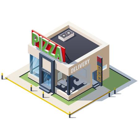 isometric icon representing pizzeria restaurant building