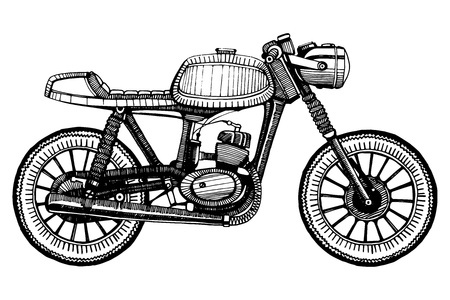 hand-painted retro custom classic motorcycle. Cafe Racer style.
