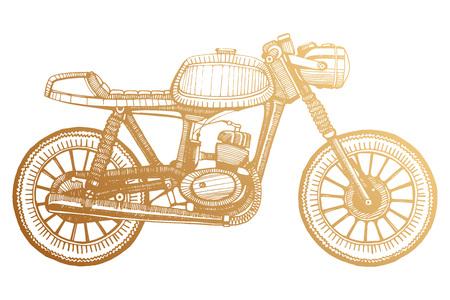 hand-painted retro custom classic motorcycle. Cafe Racer stule. Stock Illustratie