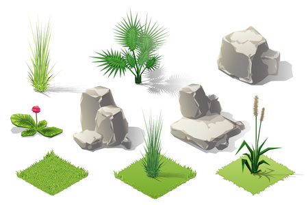 glower: Isometric plants and grass, stones, trees with transparent shadow for landscape game design