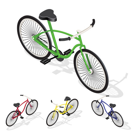Bicycle transportation. Vehicle forr infographic and game design. Isometric illustration with shadows