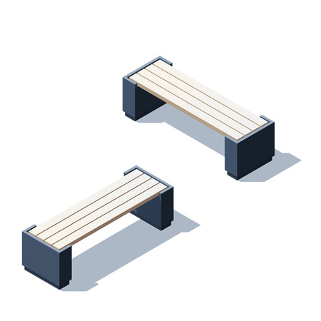 Park bench for infographic and game design. Isometric illustration with shadows Stock Illustratie