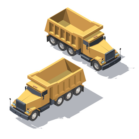 Cargo Truck tipper transportation. Vehicle for construction for infographic and game design. Isometric illustration with shadows Stock Illustratie