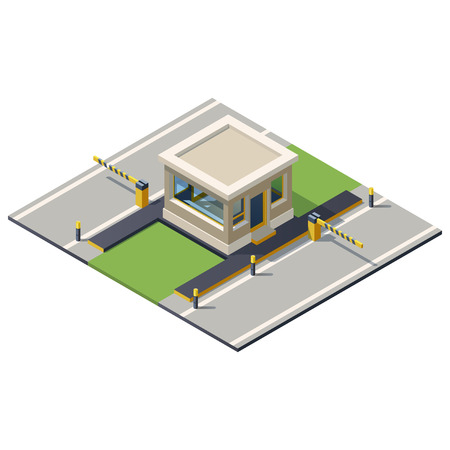 Vector illustration of a security kiosk with barrier. Security check point illustration. Isometric building gate. Stock Illustratie