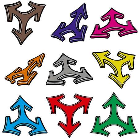 designator: Nueve flechas 3d Vectores
