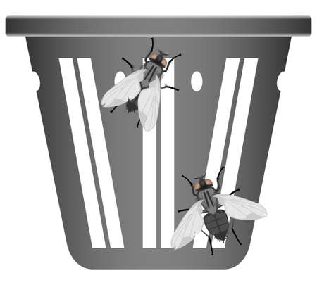 filthiness: Two flies on a dirty garbage can Illustration
