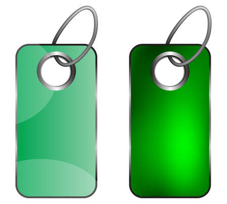 Two green keychains on a white background