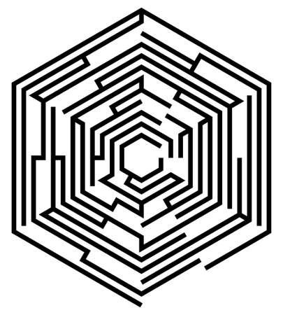 hexahedron: hexagonal maze on a white background Illustration