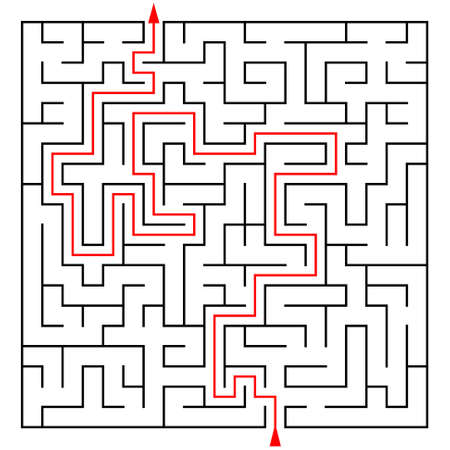 brainteaser: Labyrinth with a prompt on a white background