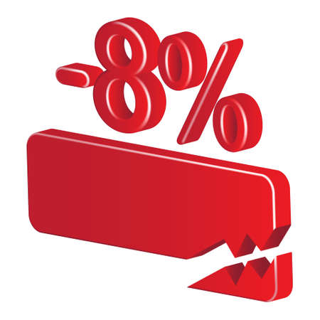 Minus eight per cent (red) on a white background