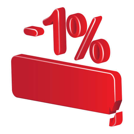 per cent: Minus one per cent (red) on a white background