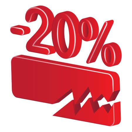 preferencia: Menos del veinte por ciento (rojo) sobre un fondo blanco Vectores