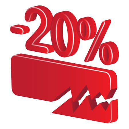 Minus twenty per cent (red) on a white background Stock Vector - 20055477