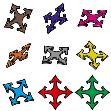 designator: Los nueve flechas 3d en el fondo blanco