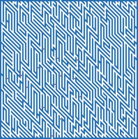 conundrum: Dark-blue square maze on a white background