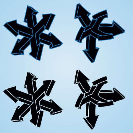 designator: 3d cuatro flechas en un fondo radial azul