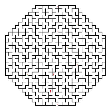 Black octahedral maze on a white background