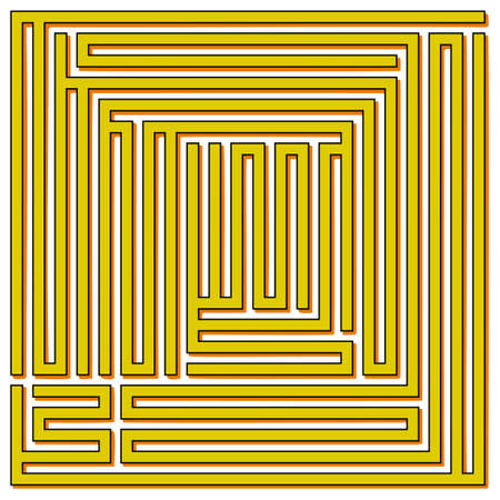 conundrum: Yellow square maze on a white background