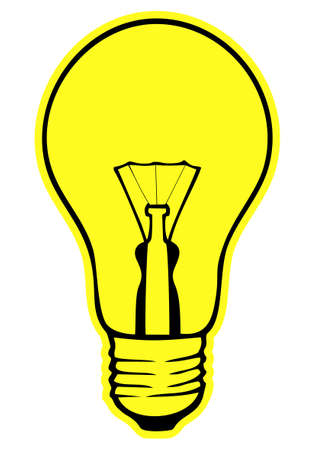 Yellow glowing lamp on a white background