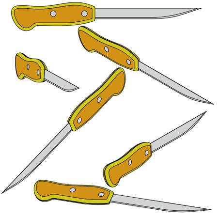 penknife: Six 3d bread knife on a white background