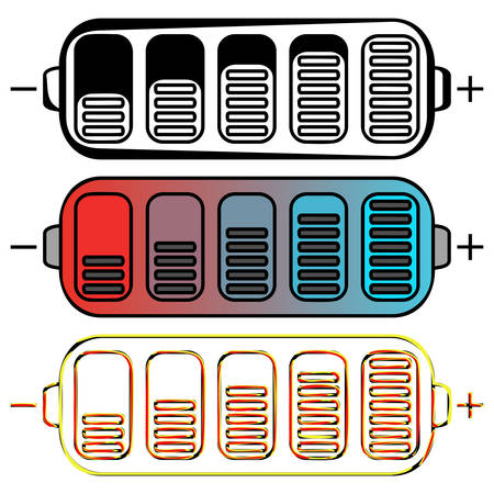 polarity: Set of colored batteries on a white  background