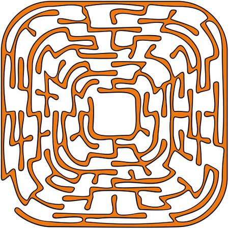 Orange round maze on a white background