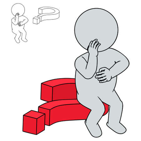 3d man think on a question mark Illustration