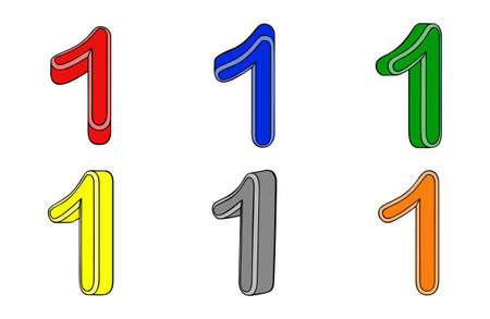 Six number  one  3d on white background Vector