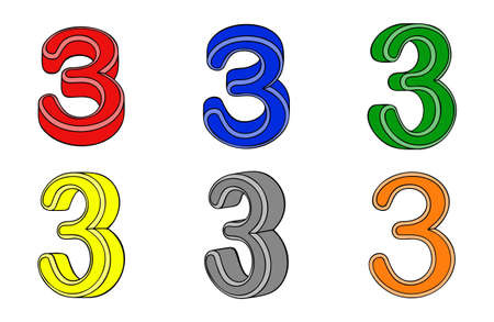 Six number  three  3d on white background Vector