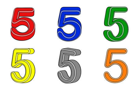 Six number  five  3d on white background Vector